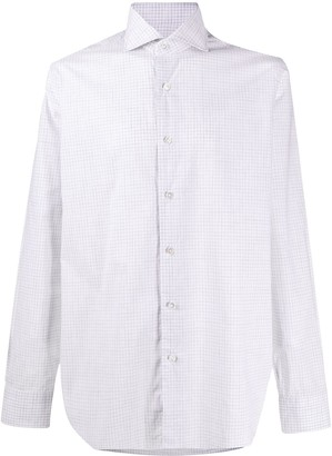 Barba Gingham Checked Curved Hem Shirt