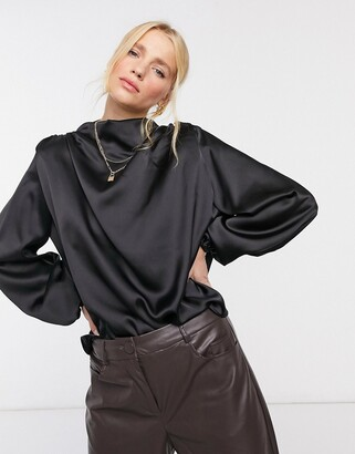 ASOS DESIGN long sleeve satin top with drape neck detail with shoulder pad in black