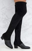 PrettyLittleThing Black Studded Contrast PU Over The Knee Boots