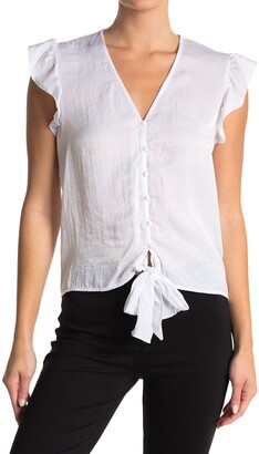 Laundry by Shelli Segal Tie Front Ruffle Sleeve Blouse