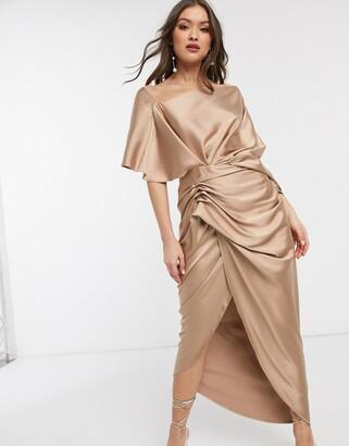 Asos Edition EDITION drape asymmetric maxi dress in satin-Gold