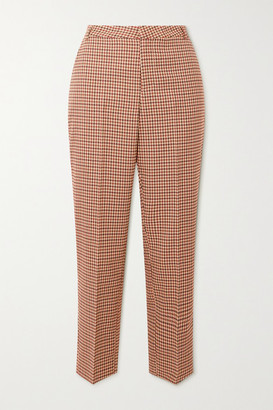 L'Agence Ludivine Cropped Houndstooth Tweed Straight-leg Pants - Beige
