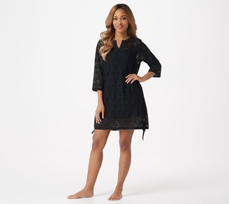 Denim & Co. Beach Side Tide Knit Lace Cover-Up