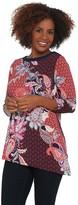 Susan Graver Printed Liquid Knit Asymmetrical Hem Tunic