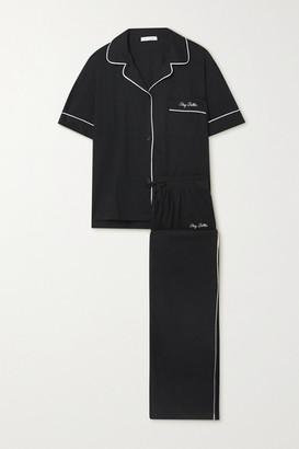 Ninety Percent Net Sustain Embroidered Brushed Organic Cotton-jersey Pajama Set