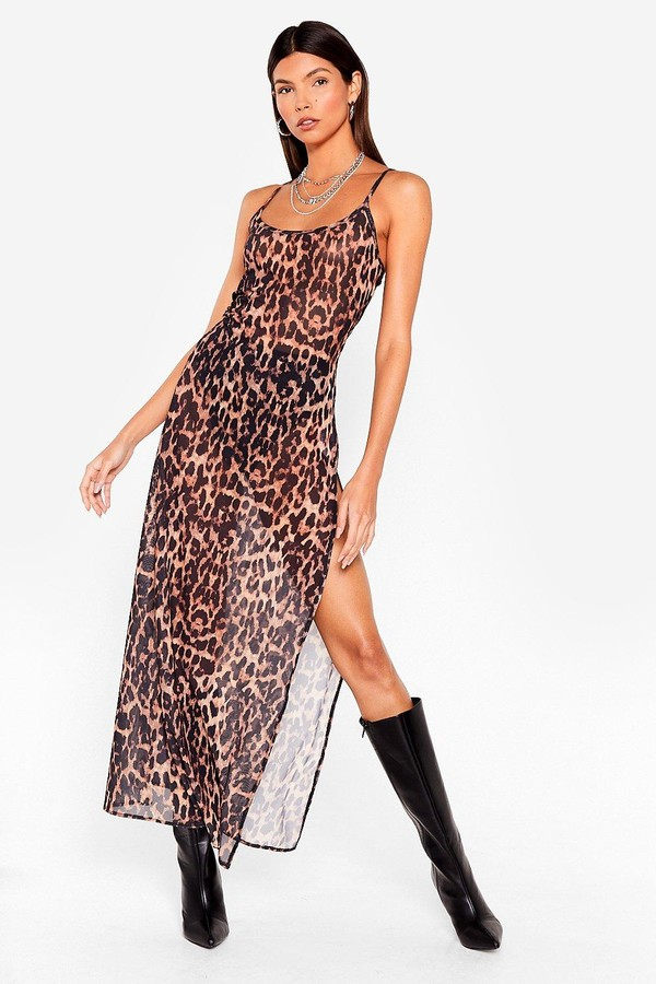 Nasty Gal Womens Don't Mesh Us About Leopard Maxi Dress - Brown - 14
