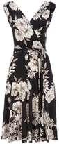 Wallis Monochrome Floral Print Wrap Dress