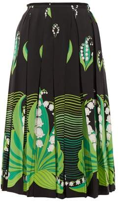 Valentino Lily Of The Valley-print Pleated Silk Skirt - Womens - Black Multi