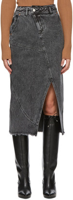 ANDERSSON BELL Black Denim Over-Dying Pencil Mid-Length Skirt