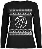Old Glory White Satanic Pentagram Ugly Christmas Sweater Womens Long Sleeve T-Shirt
