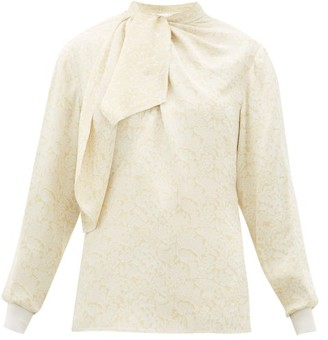 Chloé Floral-jacquard Tie-neck Blouse - Womens - White Multi