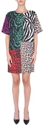 Boutique Moschino Patchwork Animal Print Midi Dress