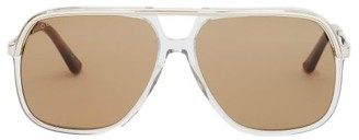 Gucci Web-stripe Aviator Acetate And Metal Sunglasses - Grey