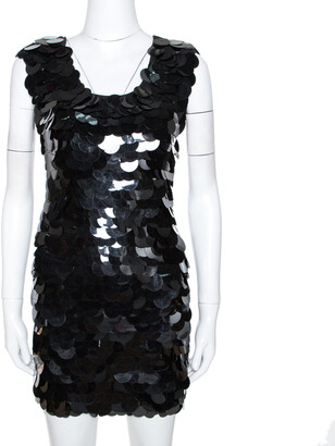 Dolce & Gabbana Black Oversized Sequin Embellished Wool Sleeveless Dress XS