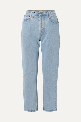 STILL HERE Tate Cropped Striped High-rise Straight-leg Jeans - Blue