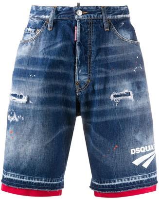 DSQUARED2 Zip-Trim Distressed Denim Shorts