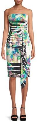 Black Halo Floral-Print Strapless Dress