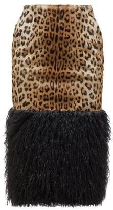 Saint Laurent Leopard-print Goat-hair Skirt - Womens - Leopard
