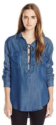 RD Style Women's Lace up Lyocell Blouse
