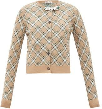 Miu Miu Crystal-embellished Checked Wool Cardigan - Beige