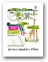 """The Well Appointed House """"She Never Minded a Detour"""" Safari Girl Framed Print - IN STOCK IN OUR GREENWICH STORE FOR QUICK SHIPPING"""