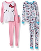 Hello Kitty Big Girls' 4Pc Cotton Sleepwear Set with Doorknob Hanger