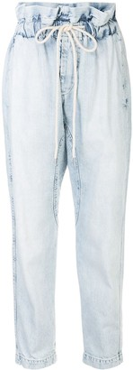 Bassike ruffled high waist cropped jeans