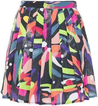Olivia Rubin Poppy Sequined Printed Georgette Mini Skirt