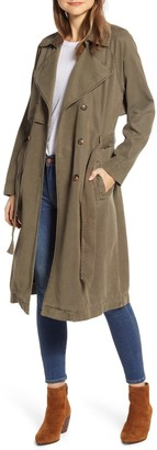 Lucky Brand The Relaxed Double Breasted Canvas Trench Coat