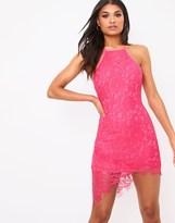 PrettyLittleThing Lace Halterneck Midi Dress