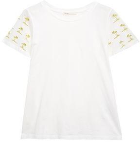 Maje Metallic Embroidered Cotton-jersey T-shirt