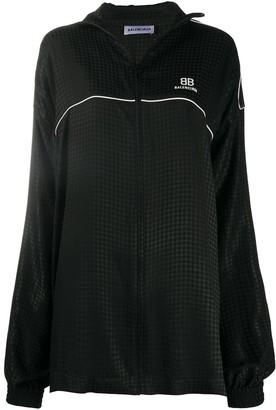 Balenciaga Houndstooth-Pattern Oversized Jacket
