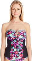 Jessica Simpson Women's Botanica Center Strap Tankini Top with Soft Cups