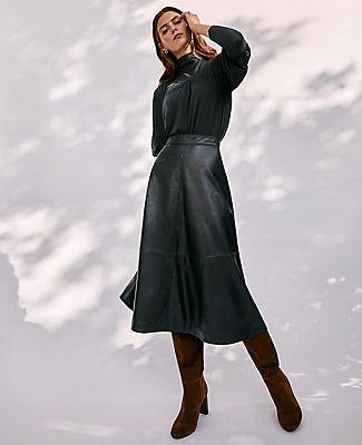 Ann Taylor Faux Leather Seamed Midi Skirt