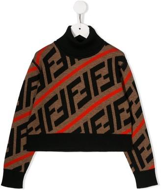 Fendi Kids FF logo intarsia jumper