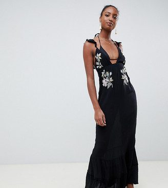 Asos Tall DESIGN Tall Floral Cross Stitch Embroidered Maxi Beach Dress with Pompom Trim-Black