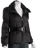 Kenneth Cole Reaction black quilted poly down belted jacket