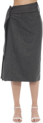 Rokh Side Pleated Wool Blend Midi Skirt