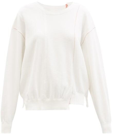 Kuro Asymmetric Cotton-jersey Sweatshirt - White
