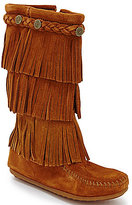 Minnetonka 3-Layer Fringe Stud Girls' Boots