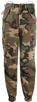 R 13 Camouflage Print Tapered Trousers