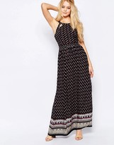Glamorous High Neck Printed Maxi Dress With lace Up Back