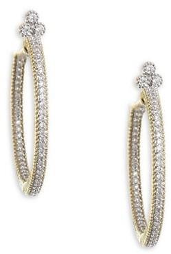 Jude Frances Provence 18K Yellow Gold & Diamond Pave Medium Hoop Earrings