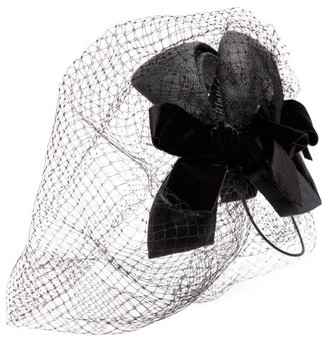 Gucci Velvet-bow Net And Straw Fascinator - Black