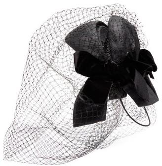 Gucci - Velvet Bow Net And Straw Fascinator - Womens - Black