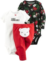 Carter's 3 Piece Floral Bodysuit Set (Baby) - Red - Newborn