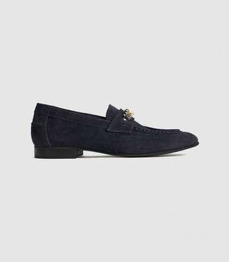 Reiss Lex - Suede Loafer With Chain Detail in Navy