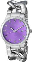 Akribos XXIV Women's AK759SSPU Swiss Quartz Movement Watch with Purple Sunburst Effect Dial and Silver Twist Chain Bracelet