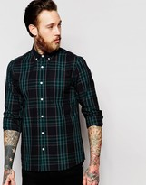 Asos Check Shirt In Navy With Long Sleeves In Regular Fit