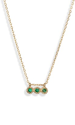 Jennie Kwon Designs Three Emerald Pendant Necklace